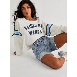 Free People X Retro Brand Raised by waves crew sweatshirt